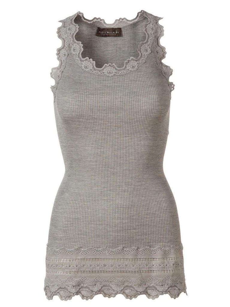 Rosemunde Lace Top W Lace Edge In Silk - Grey M  Rosemunde Clothing