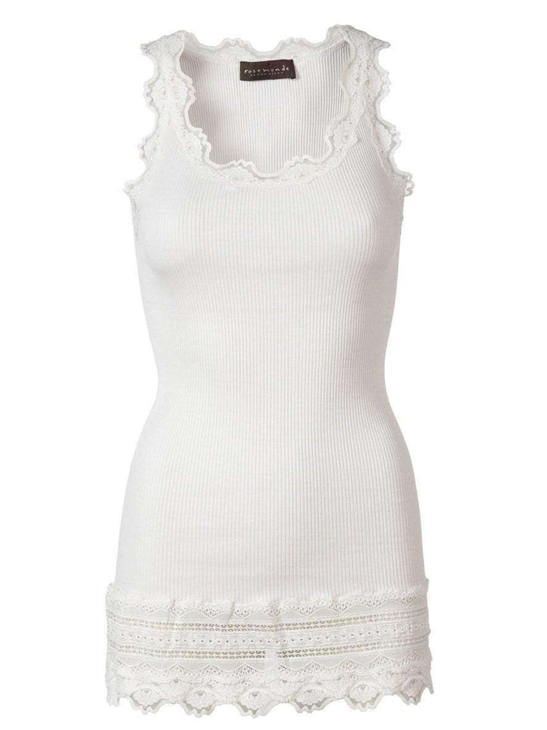 Rosemunde Lace Top W Lace Edge In Silk - White S  Rosemunde Clothing