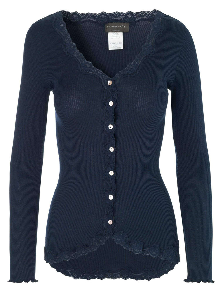 Rosemunde Vintage Lace Cardigan in Silk - Blue - My Perfume Shop