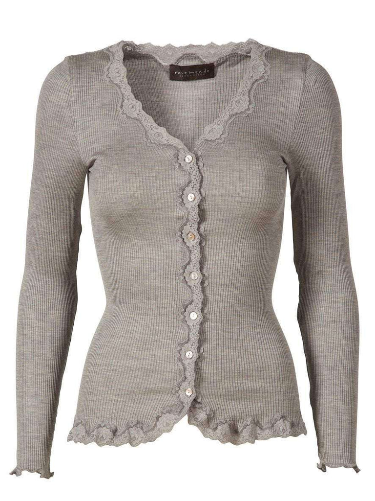 Rosemunde Vintage Lace Cardigan In Silk - Grey M  Rosemunde Clothing