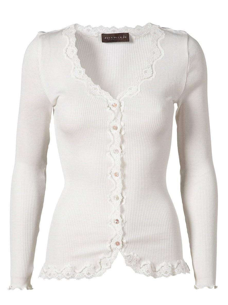 Rosemunde Vintage Lace Cardigan In Silk - White XL  Rosemunde Clothing