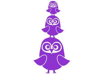 Ferm Living Three Owls Wall Stickers- Purple
