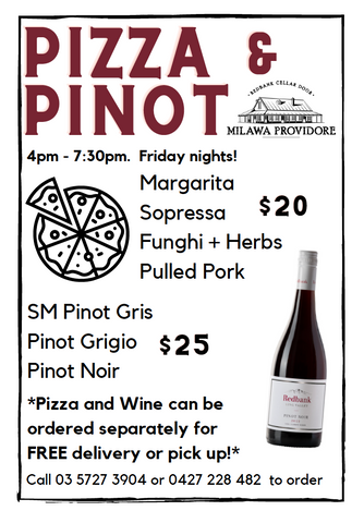Pizza and Pinot menu. Funghi, Pulled Pork, Margarita, and Sopressa Pizza. Pinot Noir, Pinot Grigio, Pinot Gris.