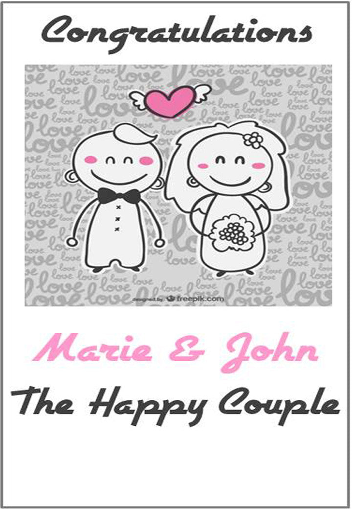 Personalised Wedding Congratulations Card Wedded Bliss Design