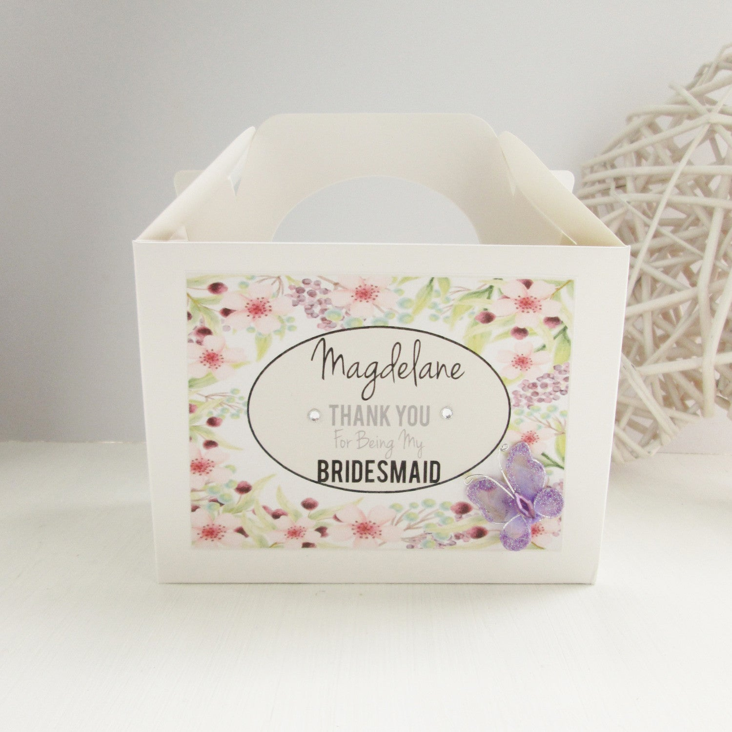 Personalised Bridesmaid Gift Box Spring Garden Design