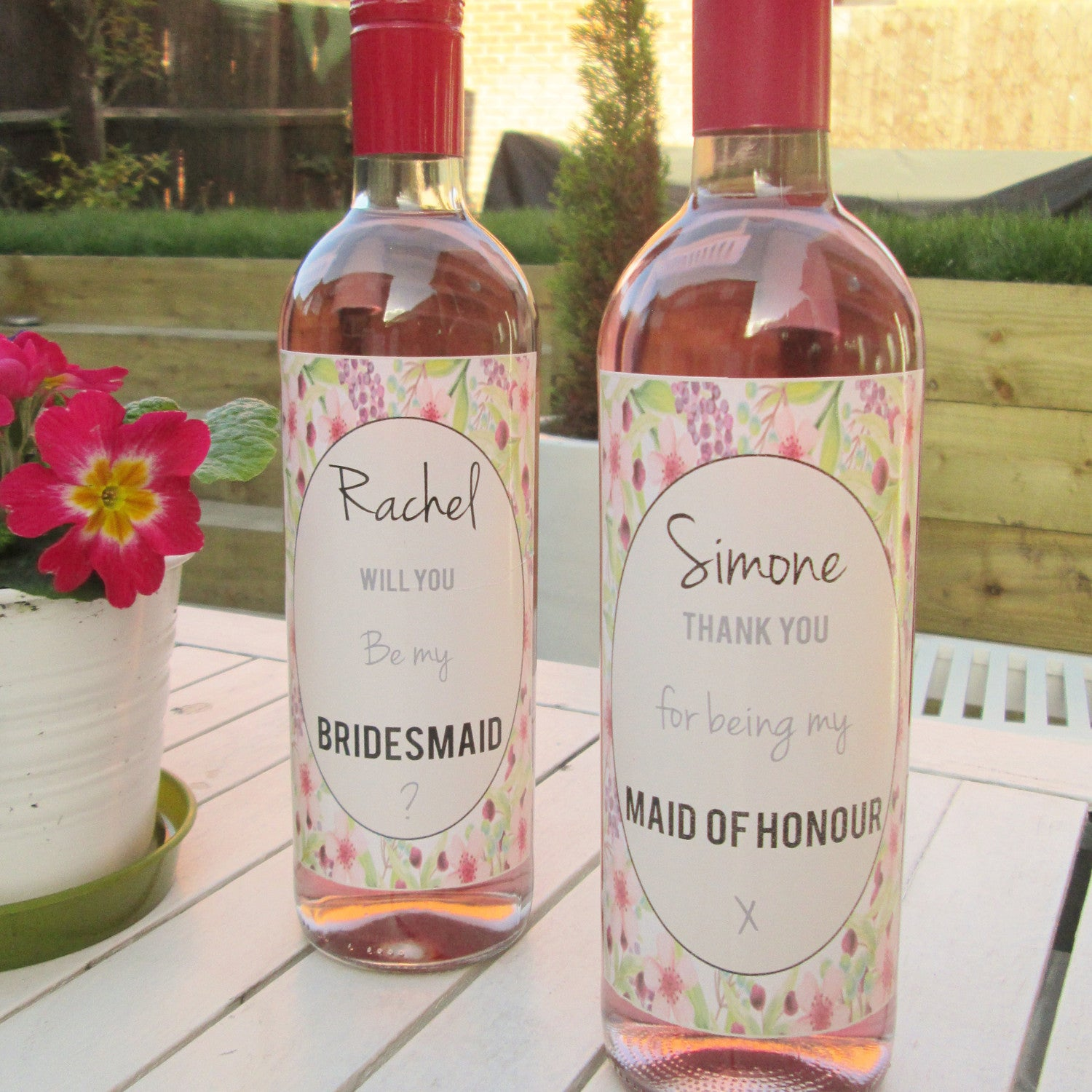 Personalised Pink Bridesmaid Thank You Wine Label Perfect Wedding Day Gift