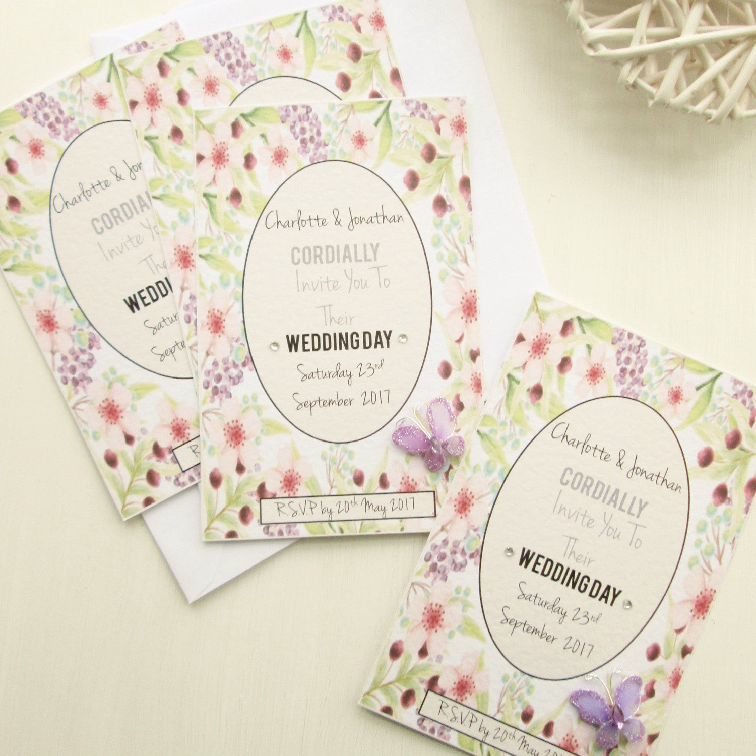 Personalised Wedding Invitation Cards Spring Garden Design Good