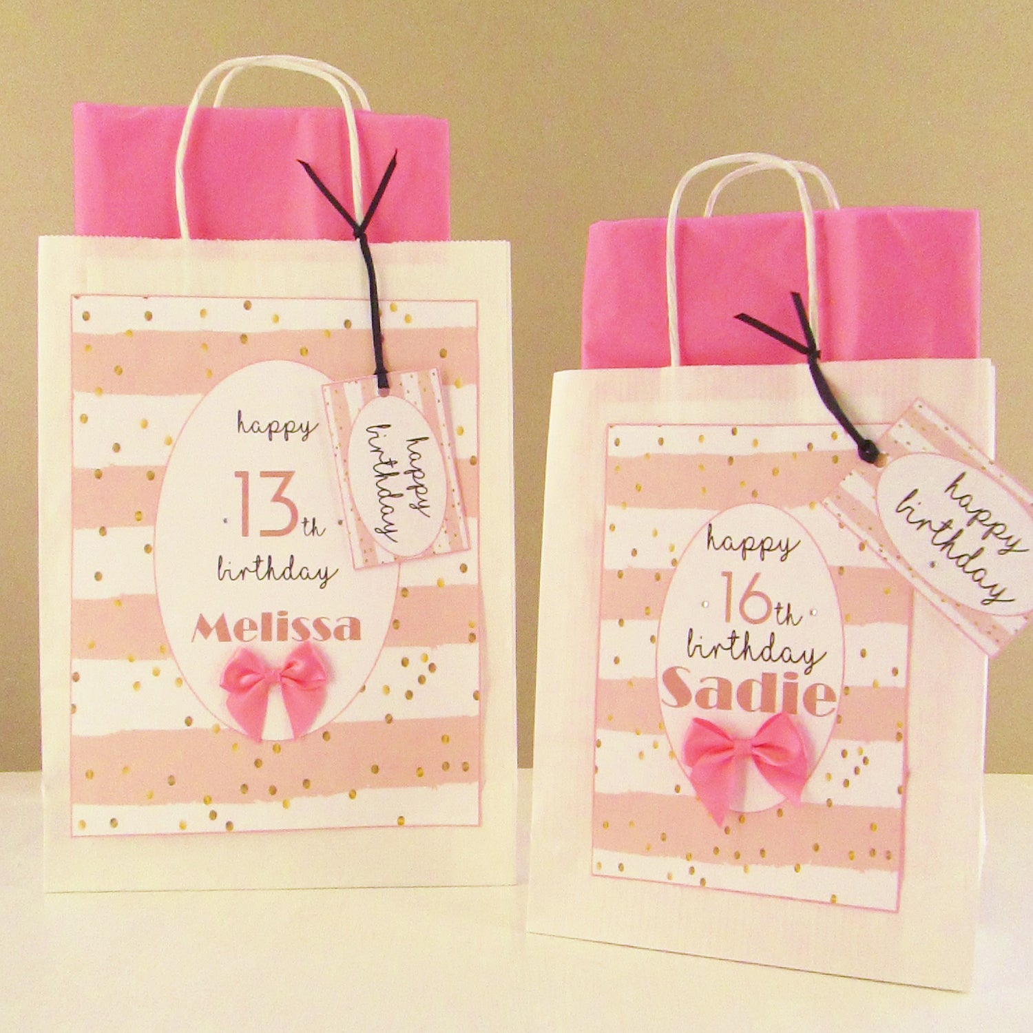 Personalised Think Pink Design Birthday Gift Bags Range Good Little Gifts Co