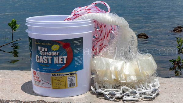 "Fitec GS-1000 Ultra Spreader Shrimp Cast Nets #11710, 10 ft. 5/8"" Sq. Mesh With Tape"