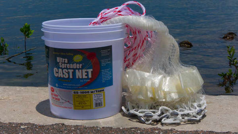 "Fitec GS-1000 Ultra Spreader Shrimp Cast Nets #11760, 6 ft. 5/8"" Sq. Mesh With Tape"