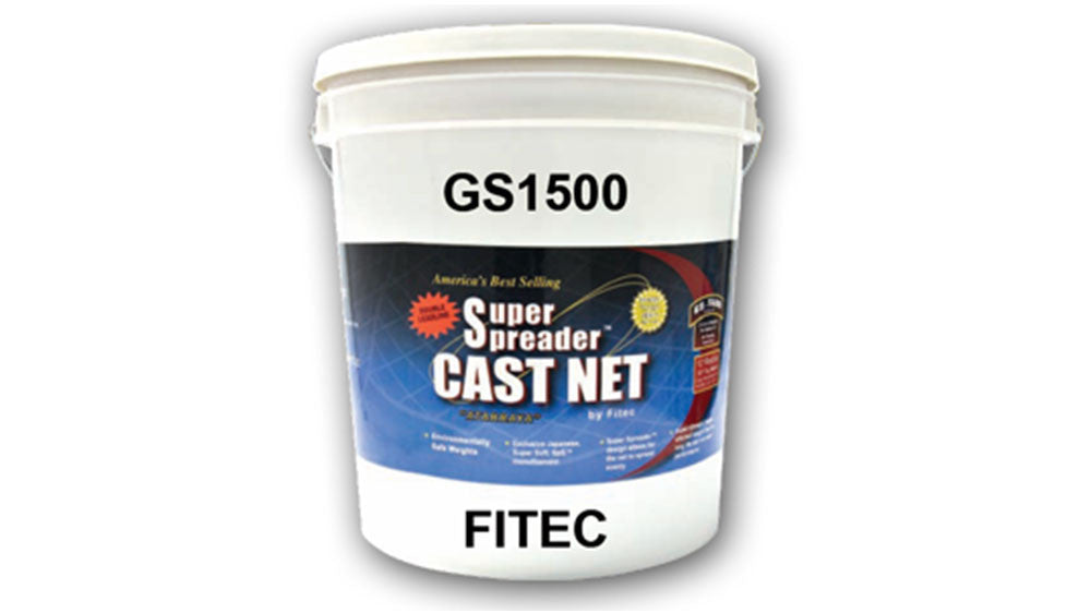 "Fitec GS-1500 Ultra Spreader Shrimp Cast Nets #11980, 8 ft. 5/8"" Sq. Mesh With Tape"