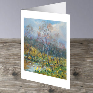 Birches and Daffodils in the artists garden in Glenmuick, Ballater Royal Deeside. This image is a greeting card by Howard Butterworth Available to purchase from The Scottish Fine Art Gallery in Aberdeenshire