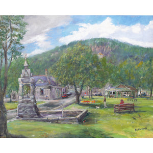 Ballater in Royal Deeside in summer looking from the village green towards Craigendarroch in the Cairngorms National Park, painted by artist Howard Butterworth. This image is a greeting card left blank inside and is suitable for all occassions. Available to purchase from The Scottish Fine Art Gallery in Aberdeenshire