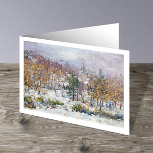 Winter scene at the Royal Family's place of worship near Balmoral, painted by Howard Butterworth. This image is a greeting card and has been left blank inside ideal for any ocassion. It is available to purchase from our Scottish Fine Art Gallery in Aberdeenshire