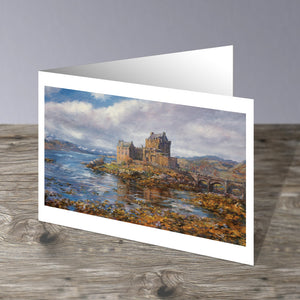 Eilean Donan Castle , a Scottish Castle in the Scottish Highlands. This image is a greeting card by Howard Butterworth Available to purchase from The Scottish Fine Art Gallery in Aberdeenshire