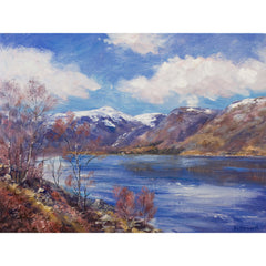 Winter art image by artist howard butterworth of Loch Muick in the Cairngorms National Park Scotland