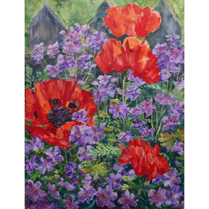 Poppies and Geraniums Original Oil Paintings by  Howard Butterworth image of poppies against the fence with purple geraniums in the artists garden Glen muick Ballater Scotland