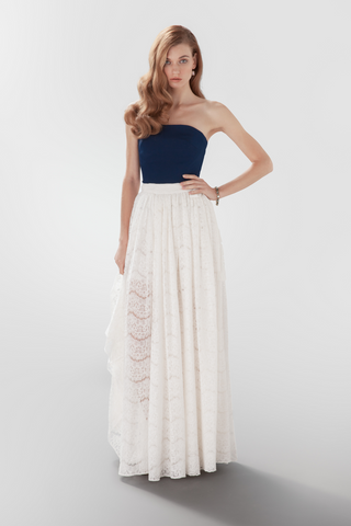 Eyre bustier silk and gathered wrap skirt lace Aideux