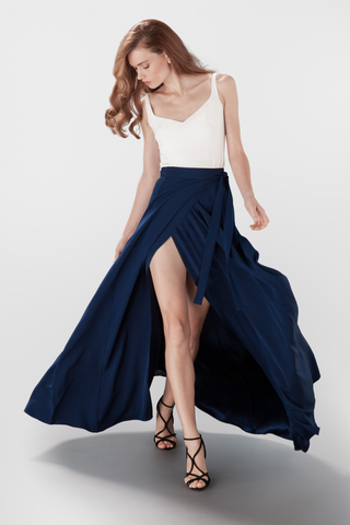 Jo top and Scarlett wrap skirt navy Aideux