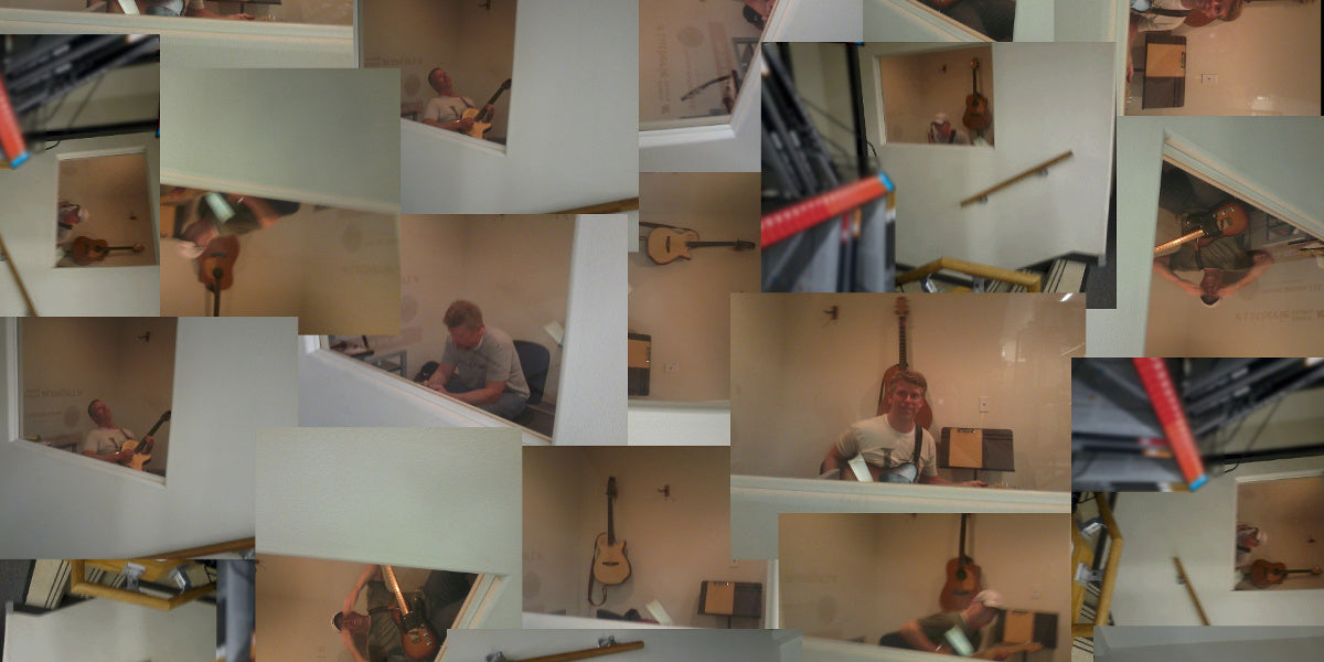A collage of photos of Richard Ellis with his guitar