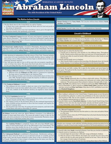 Abraham Lincoln Laminated Reference Guide
