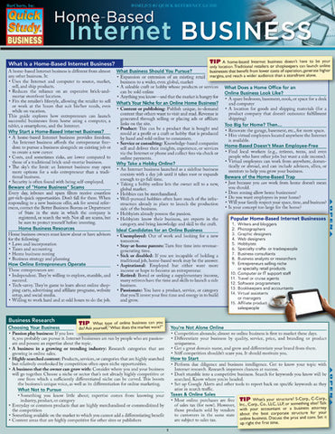 Home Based Internet Business Laminated Reference Guide