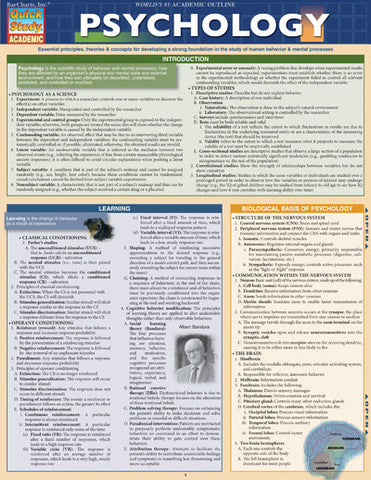 Psychology Laminated Reference Guide