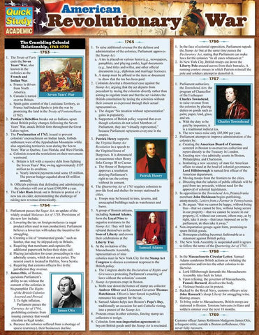 American Revolutionary War Laminated Reference Guide