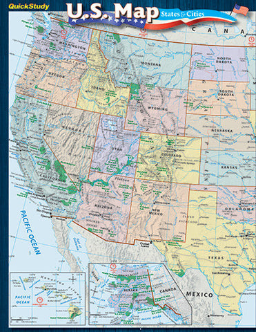 U.S. Map: States and Cities Laminated Reference Guide