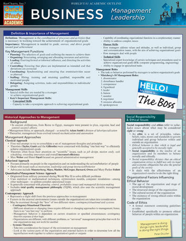 Business Management Leadership Laminated Reference Guide