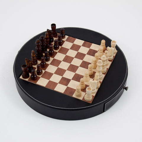 Unique Chess Set w/ Black Leather Wrapped Around the Playing Board
