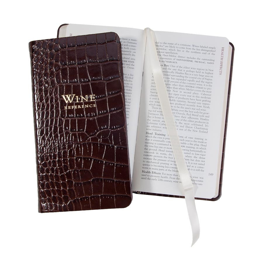 Crocodile Embossed Leather Professional Wine Reference Book