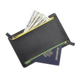 Personalized RFID Blocking Zippered Currency Passport Travel Organizer Pouch