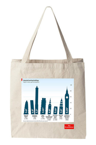 Tote bag: Leaning buildings (Natural)