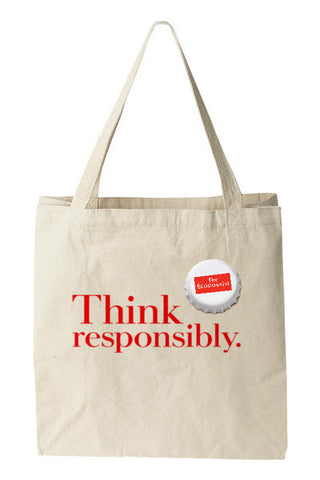 Tote bag: Think responsibly. (Natural)