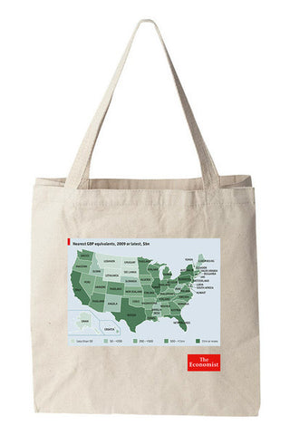 Tote bag: GDP equivalent states (Natural)