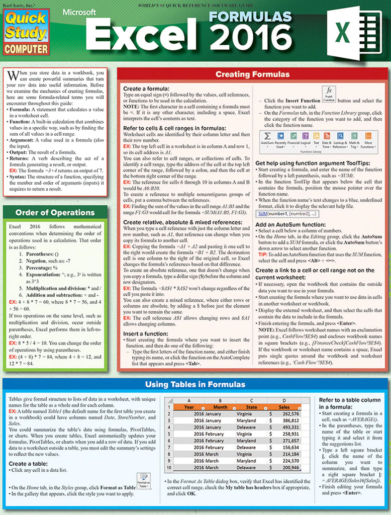 Excel 20 Formulas Laminated Reference Guide
