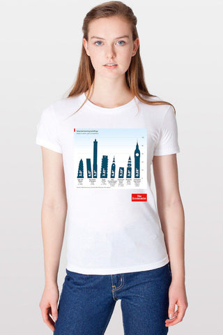 Women's T-Shirt: Leaning buildings