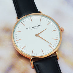 Personalized Modern Vintage Leather Watch in Black with White Dial