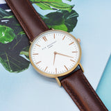 Personalized Modern Vintage Leather Watch in Brown