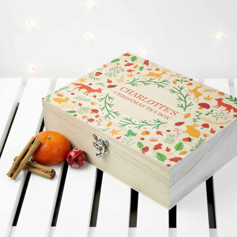 Personalized Festive Woodland Christmas Beautiful Tea Box