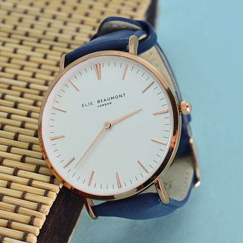 Personalized Modern Vintage Leather Watch in Navy