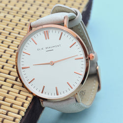 Personalized Modern Vintage Leather Watch in Stone