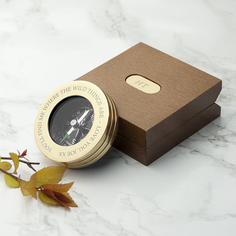 Personalized Brass Travelers Compass with Wooden Box