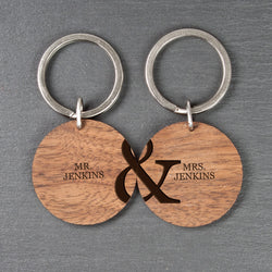 Personalized Couples Set of Two Wooden Keyrings