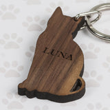 Personalized Walnut Wood Cat Shaped Keyring