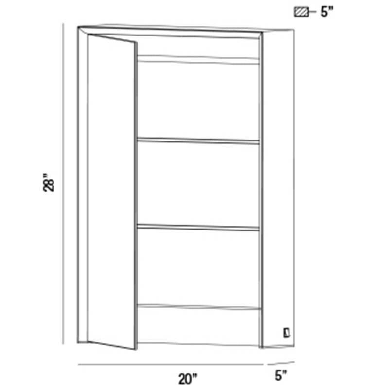 31484 Single Door LED Mirror with Cabinet Specifications
