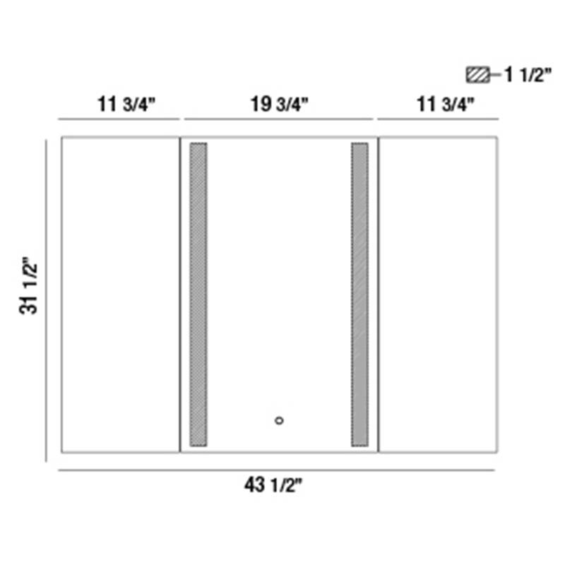 34000 Small LED Tri-Fold Mirror Specifications