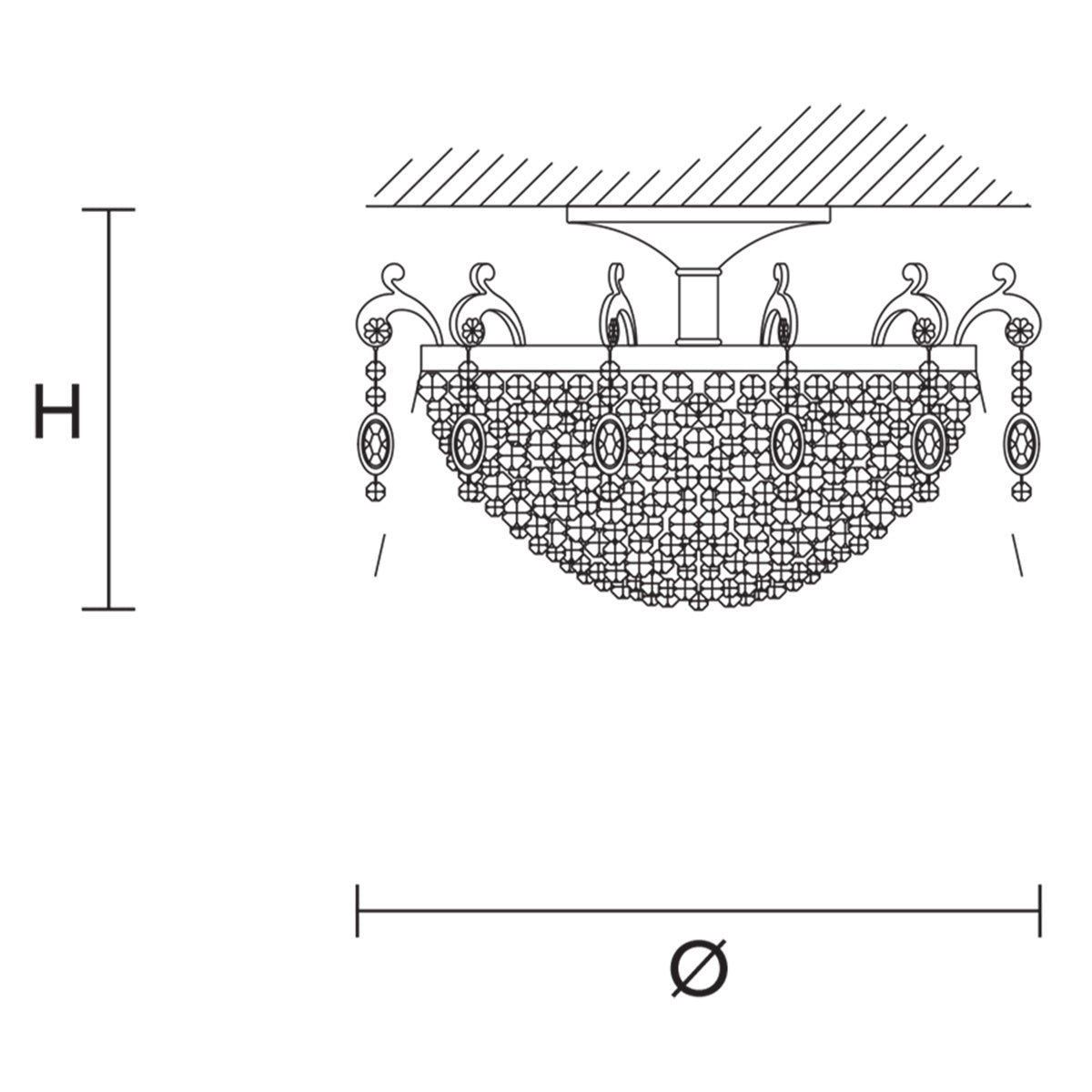 Rosemery PL6 Ceiling Lamp Specifications