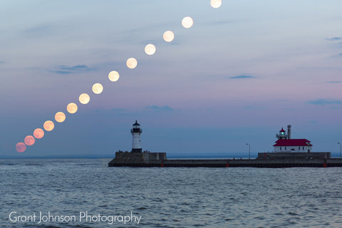 Full Moon Rising over LIghthouse by Grant Johnson Photography